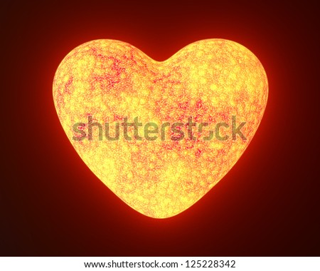 Red hot metal glowing heart isolated on black - stock photo