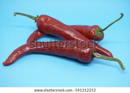 Red hot natural chili pepper realistic image for culinary products on a blue background