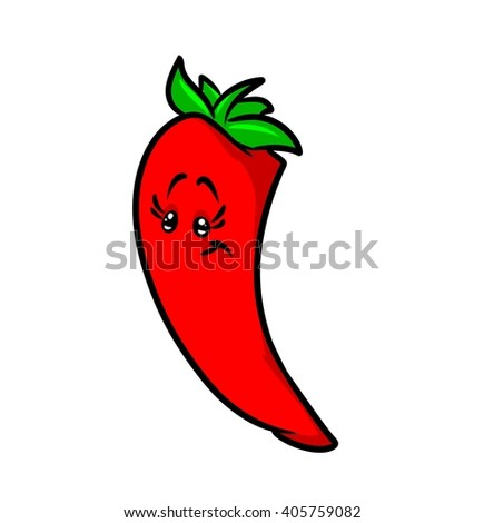 Red hot pepper vegetable cartoon isolated image