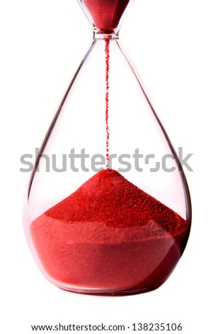 Red hourglass on white background.