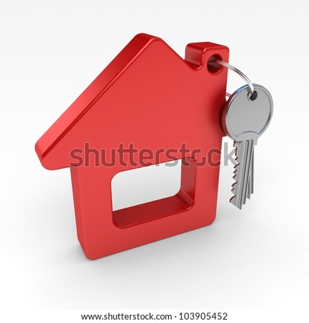 red house and key, on a white background, 3d render - stock photo