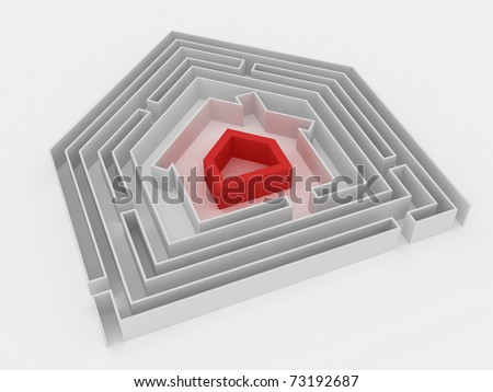 Red house in the centre of labyrinth. - stock photo
