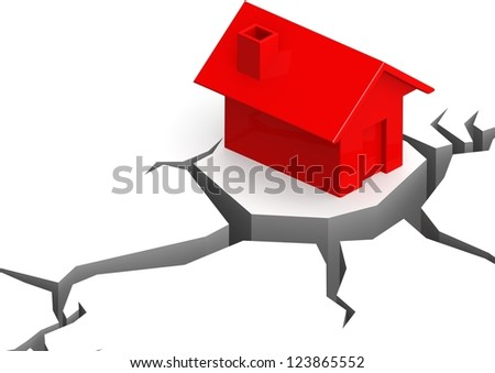 Red house on the cliff - stock photo