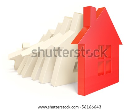 red house on white background isolated - stock photo