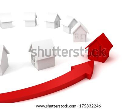 red house real estate concept choice arrow