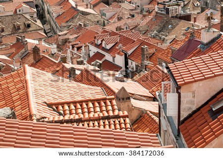 Red house roofs in Dubrovnik - stock photo