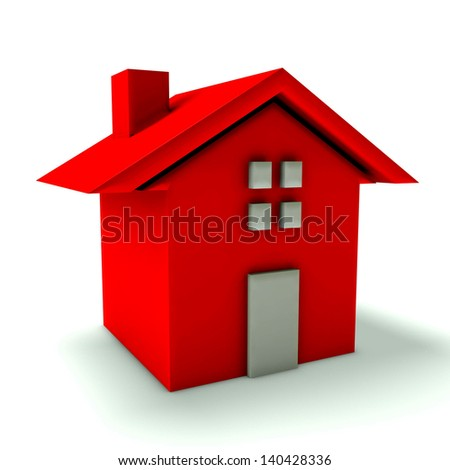 Red house with door and window - stock photo