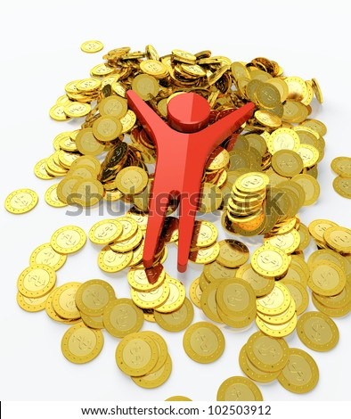 Red human figure bathing in money heap - stock photo