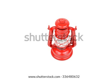 red hurricane lamp isolated on white