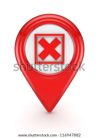 Red icon with cross mark.Isolated on white background.3d rendered. - stock photo