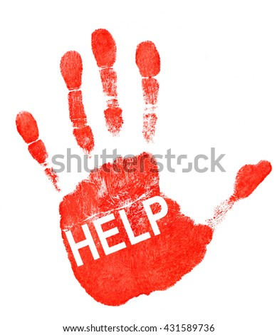 Red imprint of his hand and the word help on white background