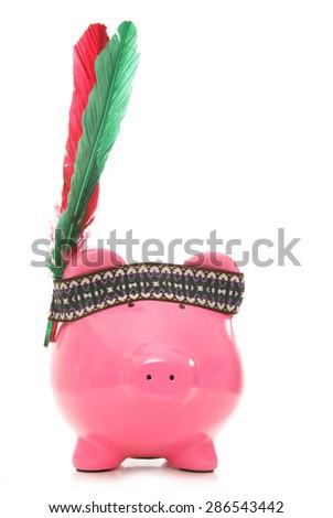 red indian piggybank studio cutout - stock photo