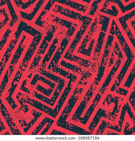 red industrial maze seamless pattern with grunge effect (raster version) - stock photo