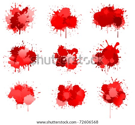 Red ink or blood blobs isolated on white for design. Vector version also available - stock photo