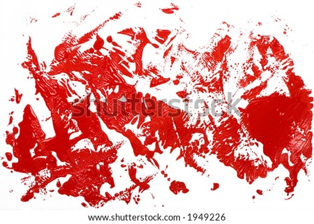 red ink stain effect on white - stock photo