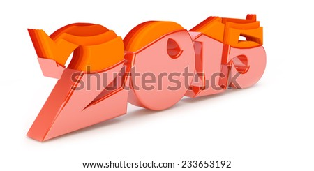 red inscription 2015 with step effector - stock photo