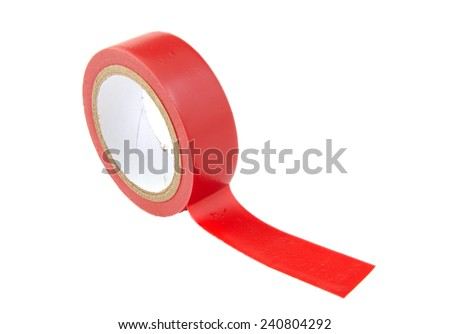 Red insulating tape isolated on white background - stock photo