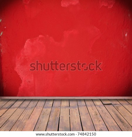 Red interior room with wooden floor - stock photo