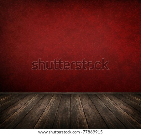 Red interior room with wooden floor