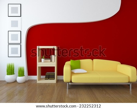 red interior with a yellow sofa