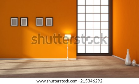 red interior with large window - stock photo