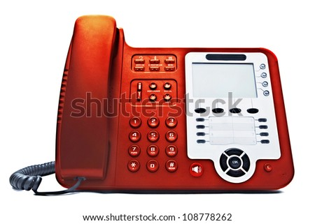 red IP phone closeup isolated on white background - stock photo