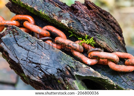 red iron chain on wood
