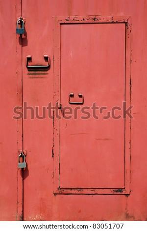 red iron door - stock photo
