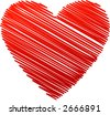 red isolated heart - stock vector