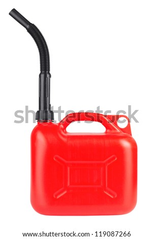Red jerrycan isolated on white background - stock photo