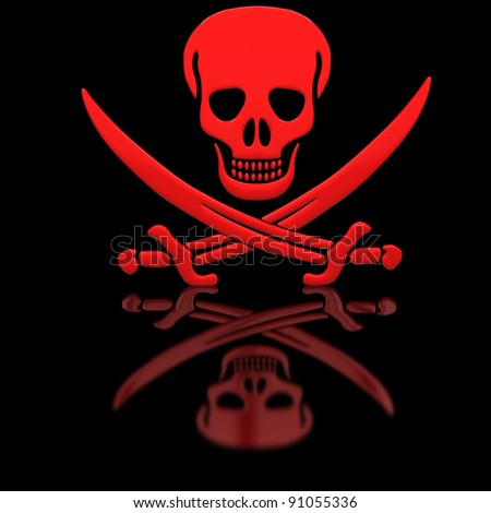Red Jolly Roger skull and swords on the glossy surface. - stock photo