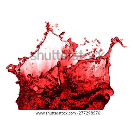 Red juice splash closeup isolated on white background - stock photo