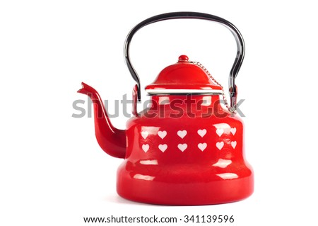 Red kettle isolated on white background with clipping - stock photo