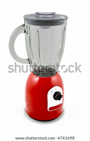 Red kitchen blender Isolated on white - stock photo
