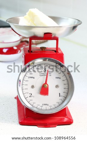 red kitchen scale - stock photo