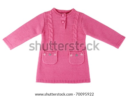 Red knit dress with a pattern on a white background - stock photo