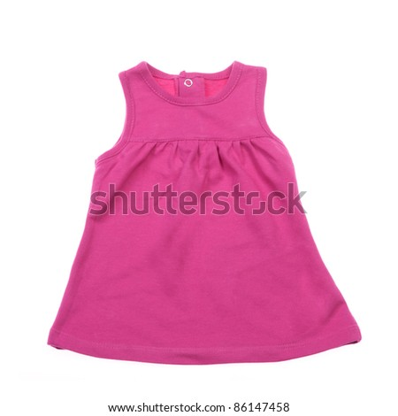 Red knitted baby dress on a white background. Isolated - stock photo