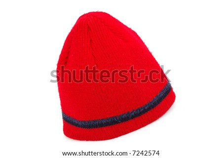 Red knitted cap isolated on white - stock photo