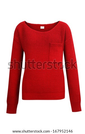Red knitted sweater isolated on white - stock photo