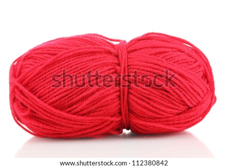 Red knitting yarn isolated on white - stock photo