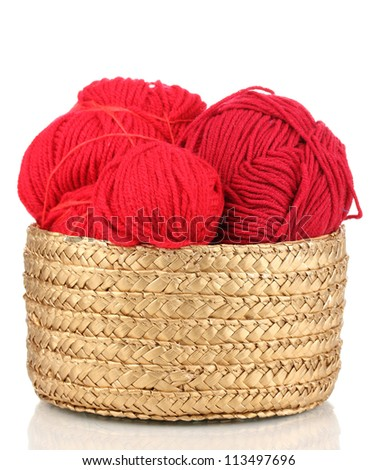 Red knittings yarns in basket isolated on white - stock photo