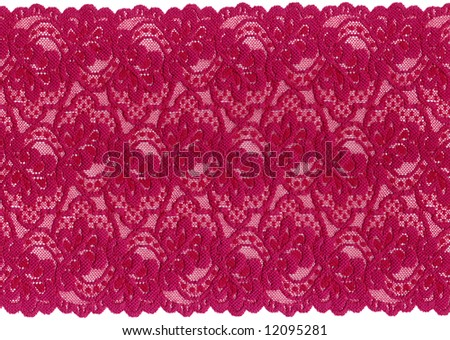 red  lace on white background - stock photo