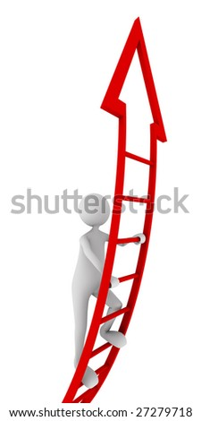 Red ladder of success - stock photo