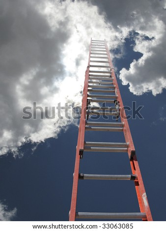 red ladder with sun emerging from bright clouds - stock photo