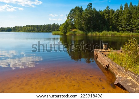 red lake - stock photo