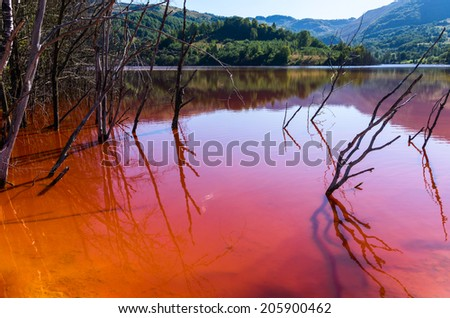 red lake polluted with dead trees - stock photo