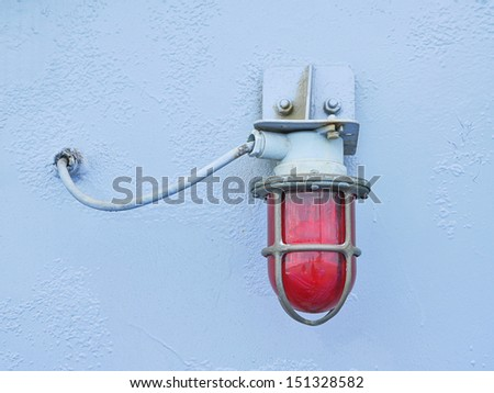 Red lamp on ship  - stock photo