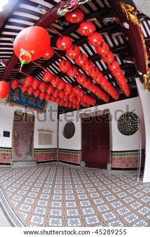 red lantern in the old Chinese temple