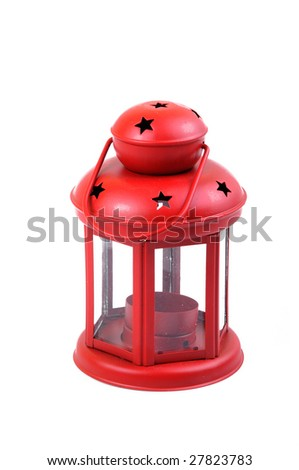 Red lantern on white background - stock photo