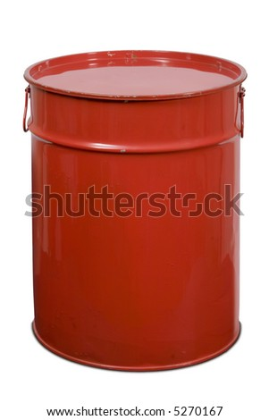 Red large can of metal for garbage